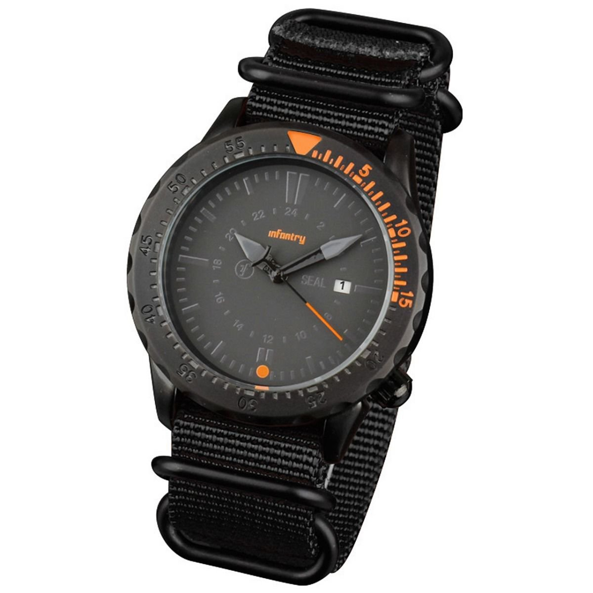 Black Band and Orange Infantry Mens Sport Quartz Watch Tachymeter Bezel Nylon