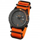 Orange Band and Orange Infantry Mens Sport Quartz Watch Tachymeter Bezel Nylon