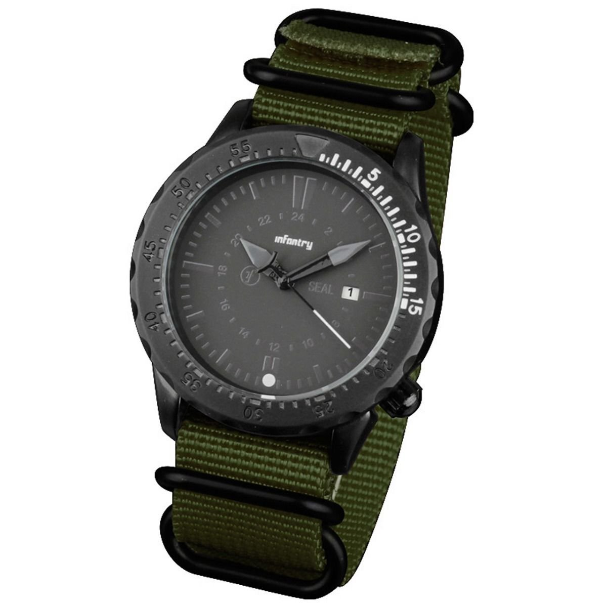 Green Band and White Infantry Mens Sport Quartz Watch Tachymeter Bezel Nylon