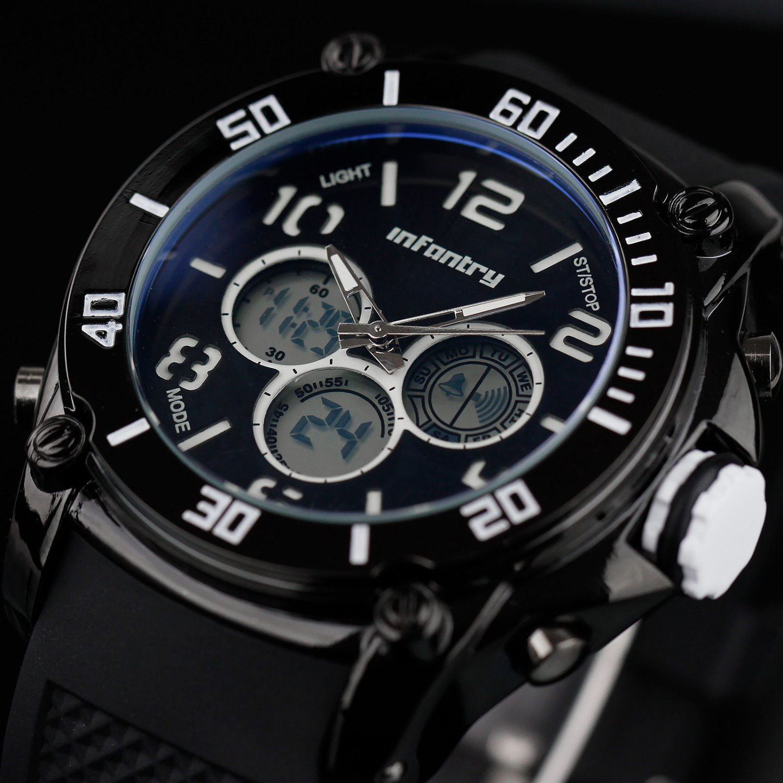 Infantry Gunmetal Black Mens Digital Chrono Quartz Date Wrist Watch Waterproof