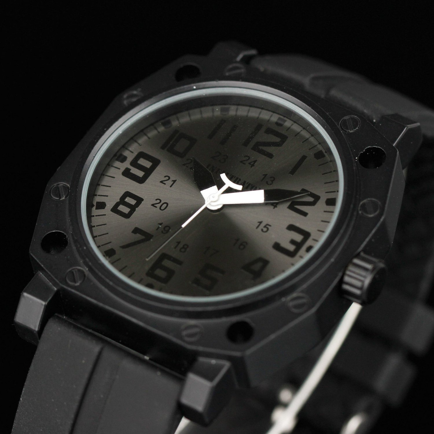 Infantry Fashion Sport Mens Quartz 24Hrs Display Black Rubber Strap Wrist Watch