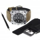 Silver Infantry Luxury Leather Quartz Lume Dial Date Mens Wrist Watch Band Set