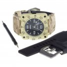 Yellow Infantry Luxury Leather Quartz Lume Dial Date Mens Wrist Watch Band Set