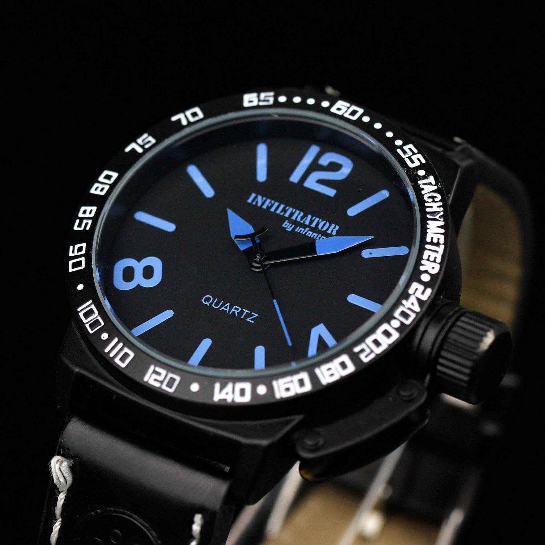 New Infantry Black Leather Round Analog Quartz Military Sport Mens Wrist Watch