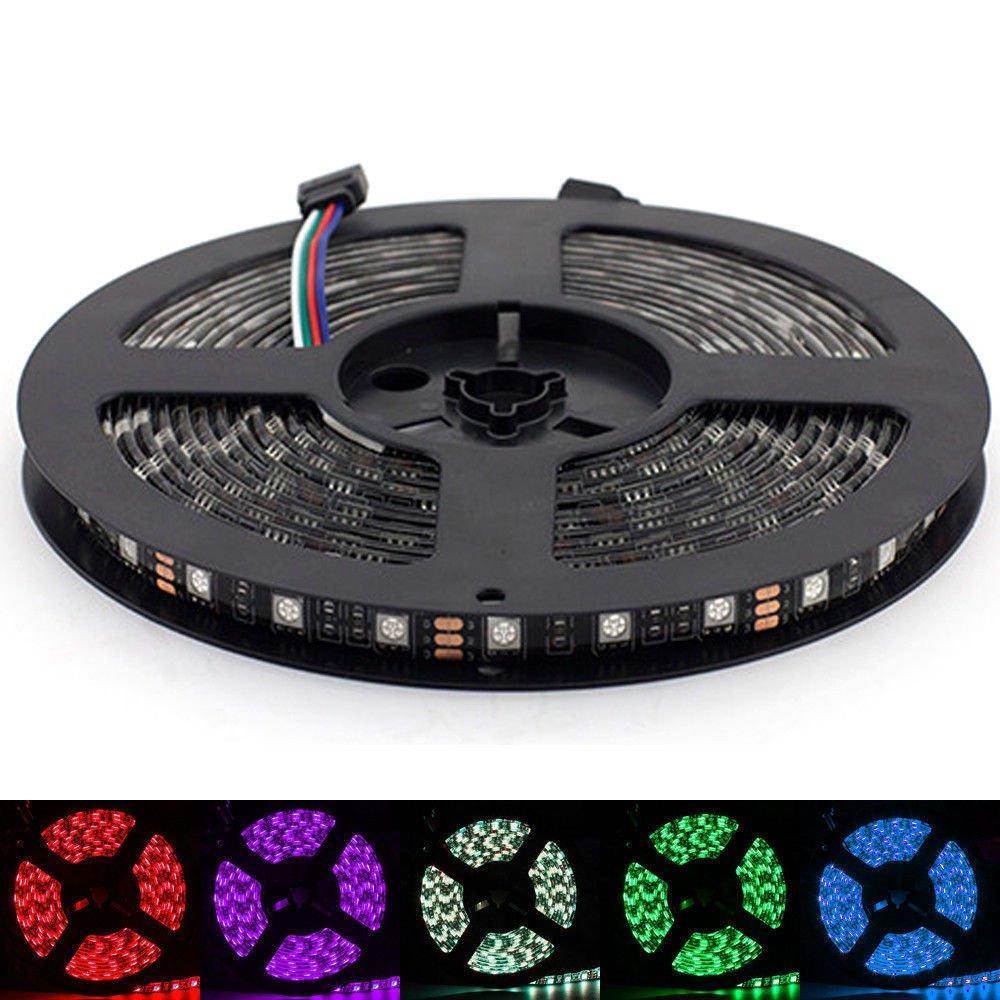 5M 5050 SMD RGB Waterproof 300 LED 60leds m Strip Light 12V Black PCB