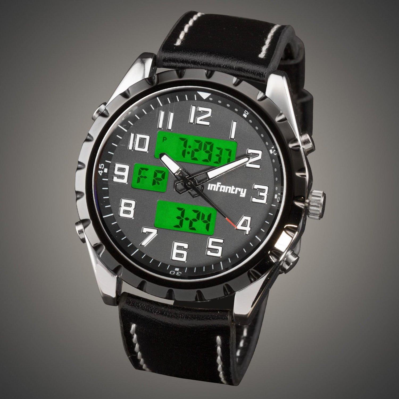 Infantry Luxury Mens Quartz Lume 12-24 Time Display Digital Leather Wrist Watch