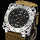 Infantry Genuine Leather Quartz Lume Sport Mens Wrist Watch Eyes Display Analog