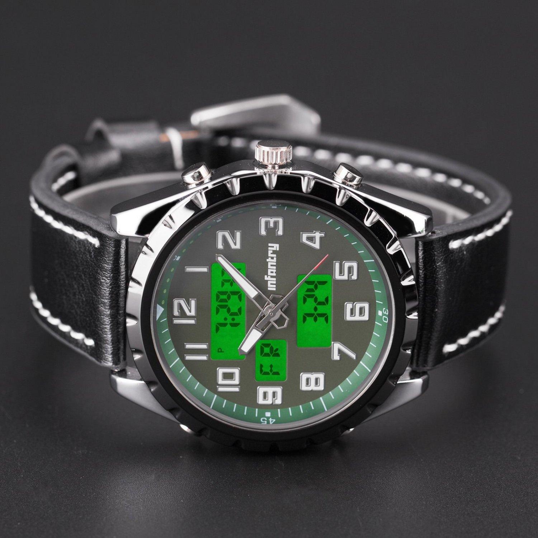Infantry Fashion Dual Quartz Luminous Dial Genuine Leather Mens Wrist Watch Set
