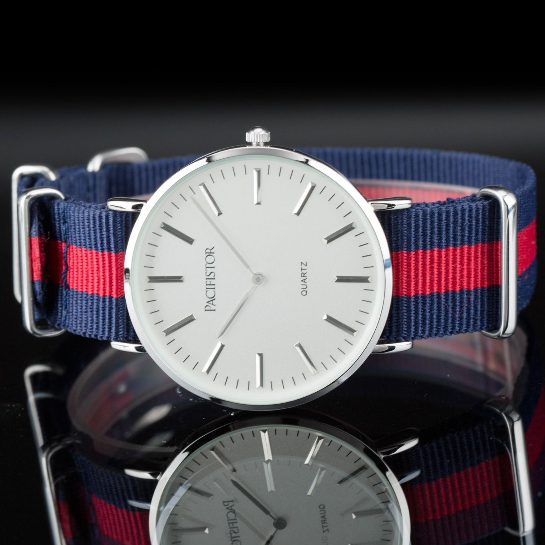 Pacifistor Simple Style Nylon Band Mens Analog 2hands Display Quartz Wrist Watch