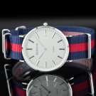 Pacifistor Simple Style Nylon Band Mens Analog 2hands Display Quartz Wrist Watch