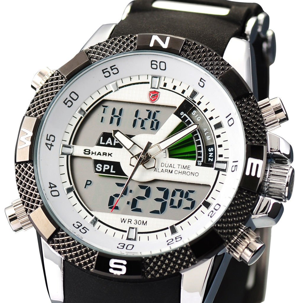 New Shark LCD Fashion Rubber Military Digital Quartz Army Mens Sport Watch