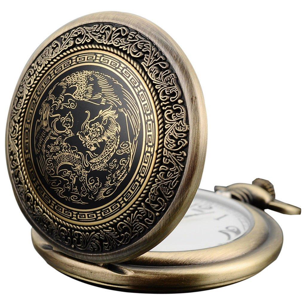 New Bronze Mens Dragon & Phoenix Dangle Pendant Pocket Quartz Watch
