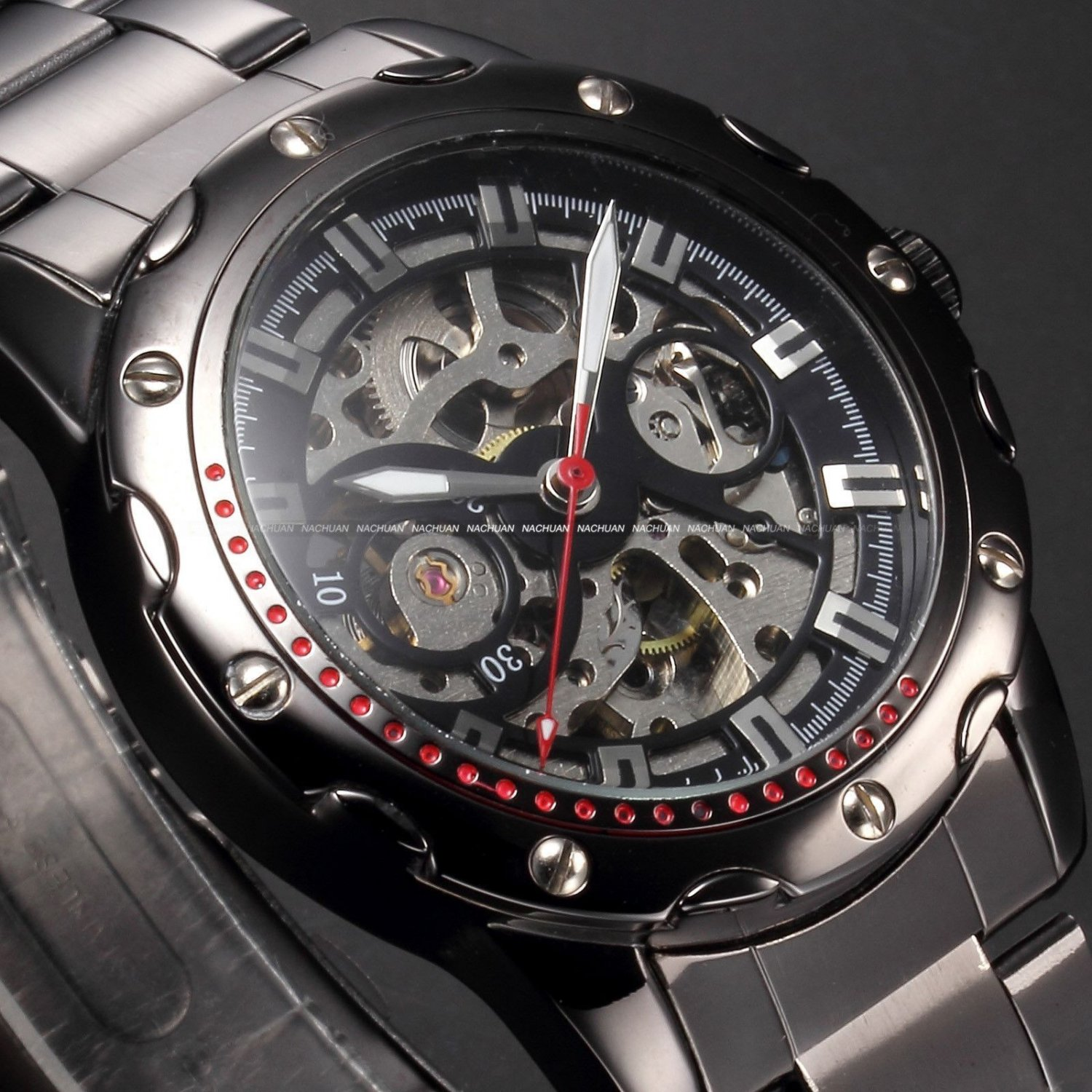 Mens Skeleton Automatic Mechanical Gunmetal Case Stainless Steel Watch