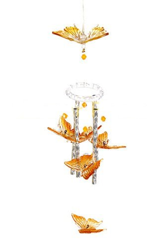New Solar Color Changing LED Butterfly Wind Chime Light Landscape Path Lamp Post