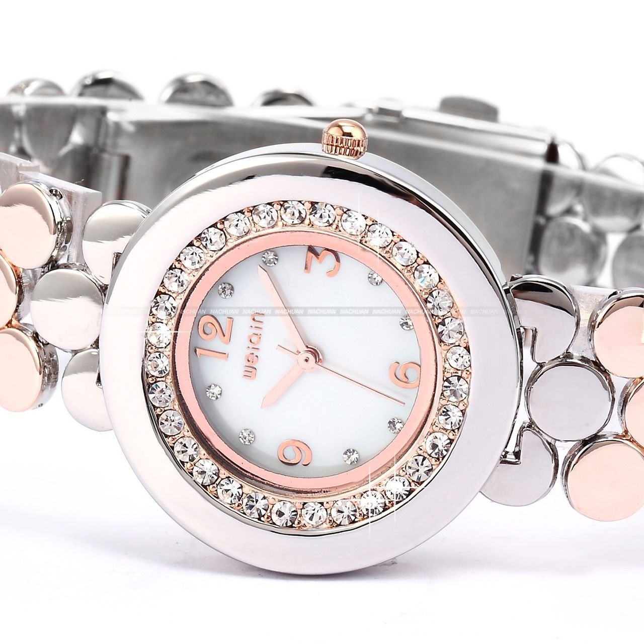 Weiqin White Dial Bling Crystal Quartz Lady Women Stainless Steel Watch