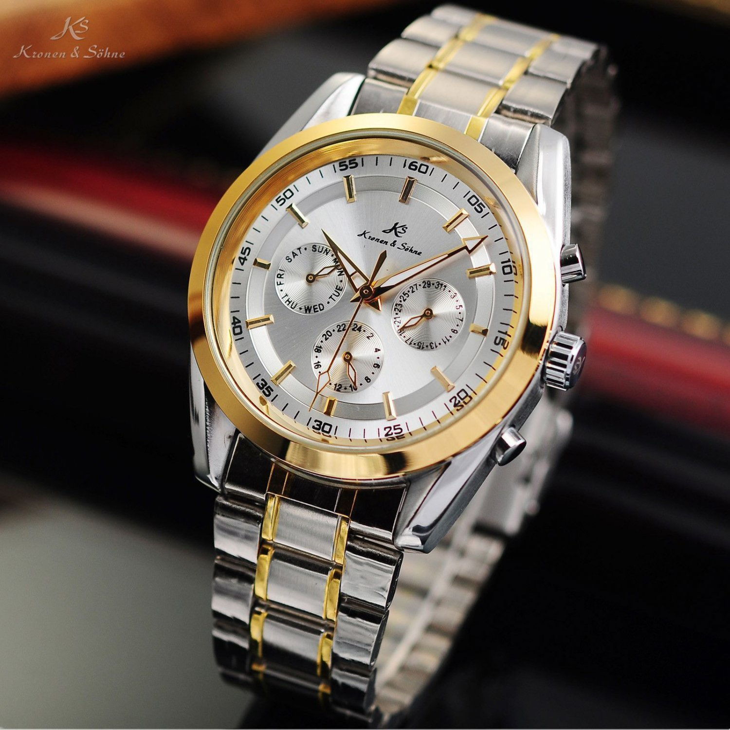 New KS 6 Hand Automatic Mechanical Date Day Stainless Steel Mens Watch
