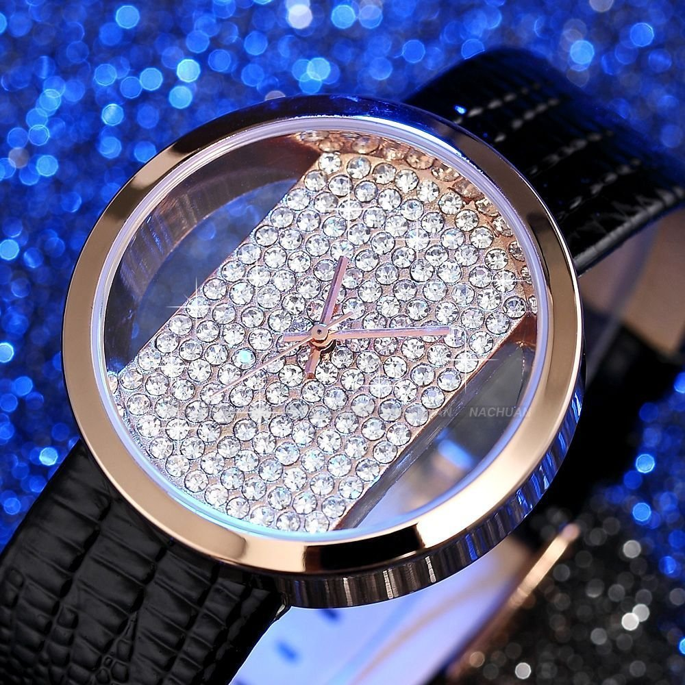 Black Rose Gold Case Bling Crystal Transparent Women Lady Quartz Watch