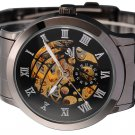 New Skeleton Dial Automatic Mechanical Steel Mens Sport Watch Gunmetal