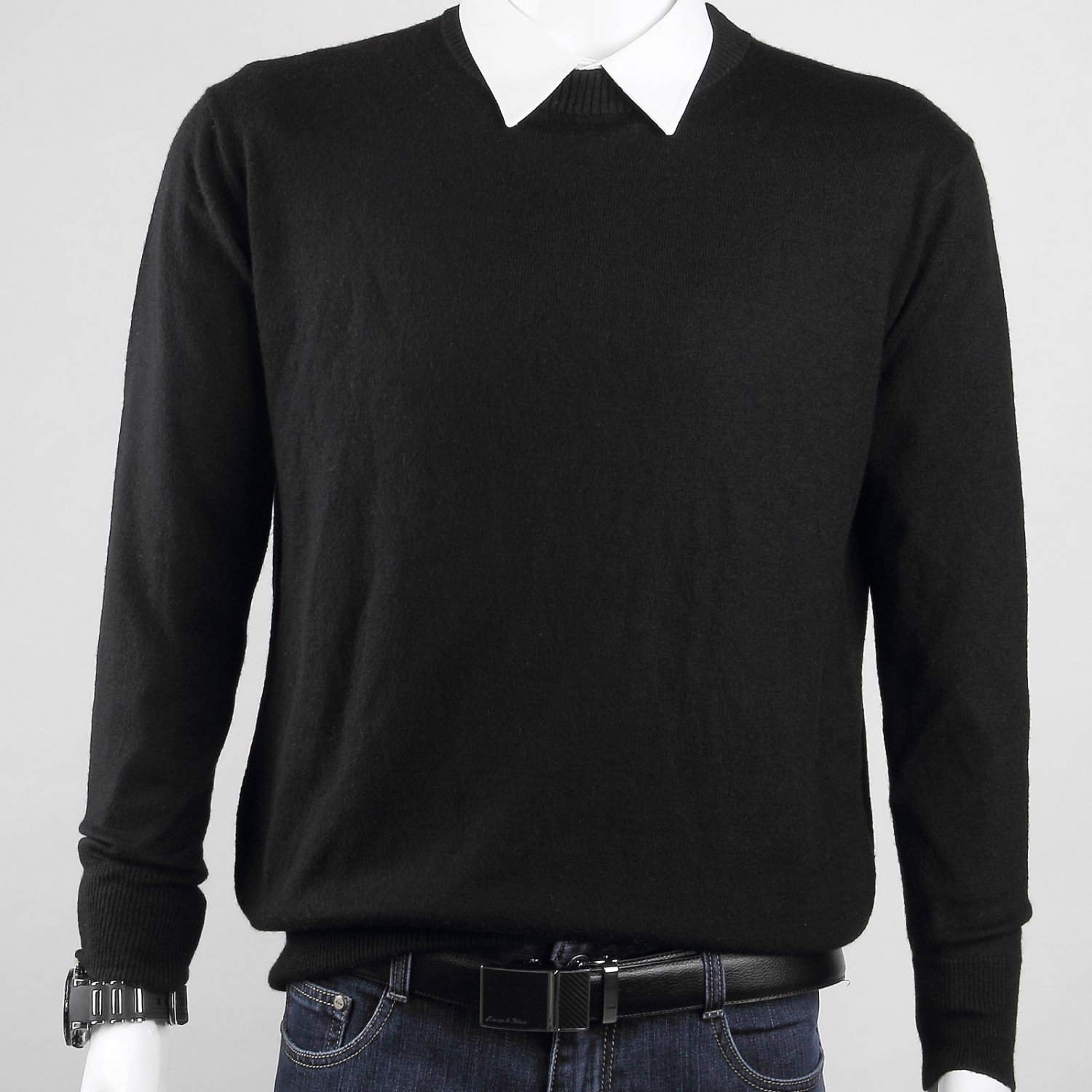 New Medium Men�s Lightweight Cashmere Crewneck Sweater