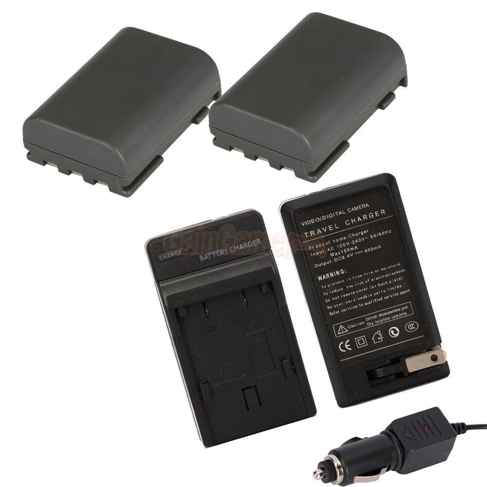 Charger,2 Battery for Canon Digital Rebel XT XTi NB-2LH EOS 350D 400D MV5i MV6i