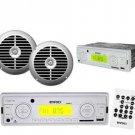 New Enrock White Marine Radio Receiver USB SD Card w Remote 6.5 Silver Speakers
