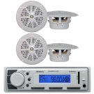Marine Boat In Dash MP3 AUX USB iPod Stereo Player,4 X 4,White MarineSpeakers