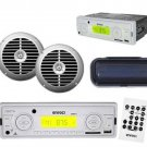 New White Outdoor AM-FM Stereo Receiver w-Cover and 6.5 Silver Speakers