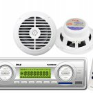 200W White Marine USB MP3 SD Weather Band Radio Receiver 2 Speakers