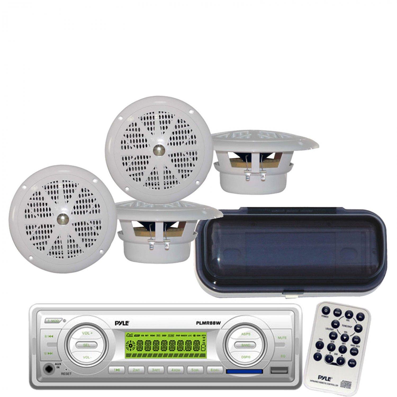 New Marine Boat MP3 USB SD AUX AM-FM WB Radio 4 White Speakers Cover