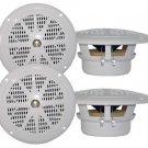 2 Pairs New Pyle 4 100 Watt White Marine Boat Yacht Waterproof Speaker System