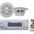 New Pyle Marine Boat MP3 USB SD Aux Radio Media Receiver 4 Round Speakers White