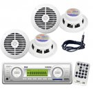 New Pyle White In Dash Marine MP3 Radio Player 4 Speaker Package With Antenna