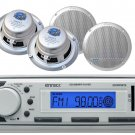 4 Silver Marine 6.5 360W Speakers, Enrock Marine USB AM FM AUX Mp3 White Radio