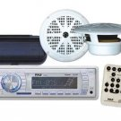 Radio MP3 USB AUX New Marine Receiver Pair 6.5 White Speakers w Stereo Cover