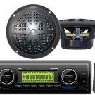 New PLMR86B Marine Boat AM FM SD USB MP3 AUX Radio Plyer & 2 Black Pyle Speakers