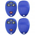 2 New Blue Replacement Keyless Entry Remote Key Fob Shell Case Pad for 15114374