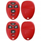 New 2x Red Replacement Keyless Entry Remote Key Fob Shell Case Pad for 22733524