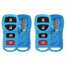 2 Light Blue Replacement Keyless Entry Remote Key Fob Case Shell Button Pad Fix