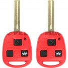 2x New Red Uncut Ignition Master Key Keyless Entry Remote Transmitter Head
