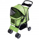 Pet Stroller Cat Dog 4 Wheels Stroller Travel Folding Easy Walk Carrier Green