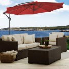 10' Hanging Umbrella Patio Sun Shade Offset Outdoor Market W/Cross Base Burgundy