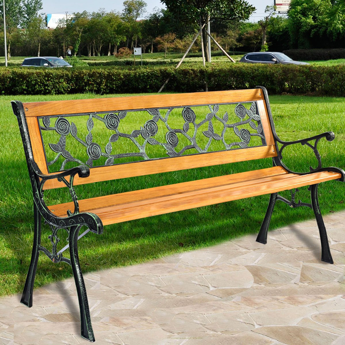 "GOPLUS 49 1/2"" Patio Park Garden Porch Chair Outdoor Cast Iron Hardwood Rose"