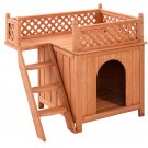 New Wooden Puppy Pet Dog House Wood Room In/Outdoor Raised Roof Balcony Bed Shelter