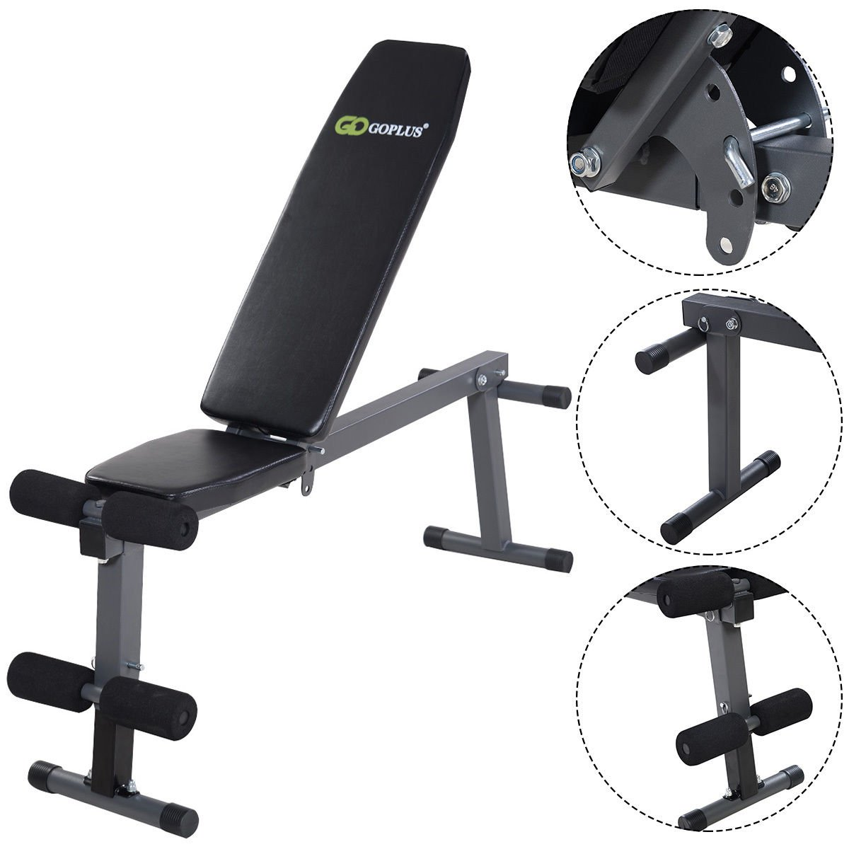 Goplus Adjustable Folding Sit Up AB Incline Abs Bench Flat Fly Weight Press Gym