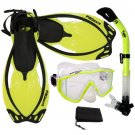 New Panoramic Snorkeling Diving Dry Snorkel Silicone Mask Fins Flippers Bag Gear Set Yellow