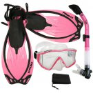 New Panoramic Snorkeling Diving Dry Snorkel Silicone Mask Fins Flippers Bag Gear Set Pink