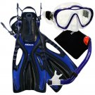New PROMATE Blue Junior Snorkeling Scuba Diving Mask DRY Snorkel Fins Gear Set for KIDS