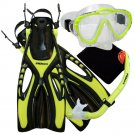 New PROMATE Yellow Junior Snorkeling Scuba Diving Mask DRY Snorkel Fins Gear Set for KIDS