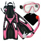 New PROMATE Pink Junior Snorkeling Scuba Diving Mask DRY Snorkel Fins Gear Set for KIDS