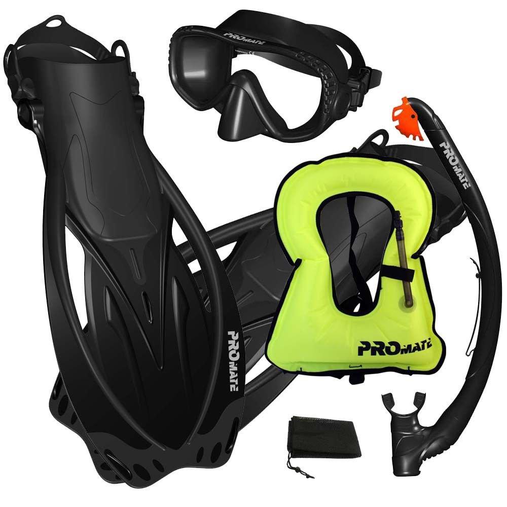 PROMATE Snorkeling Mask Dry Snorkel Fins Gear Set With Snorkel Vest Jacket Black